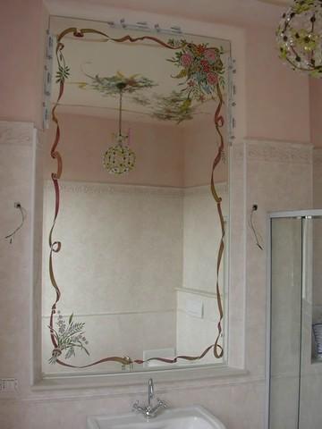 Decorazione sabbiatura pittura e foglia oro di specchi specchiere ...